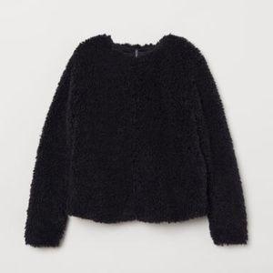 🔥 BOGO BNWT H&M Cropped Teddy Bear Sweater Jacket